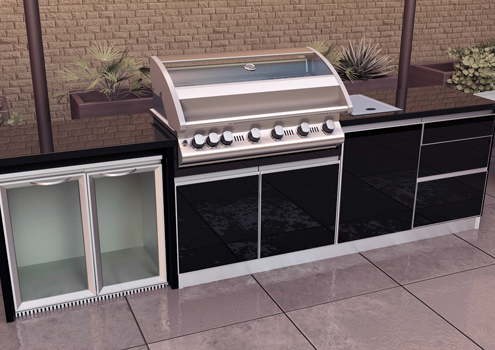 Aluminium framed glass doors granite bench  tops perfect materials for outdoor use.